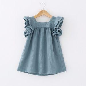 Toddler Girls' Frill Sleeve Cadet Blue Fly Dress